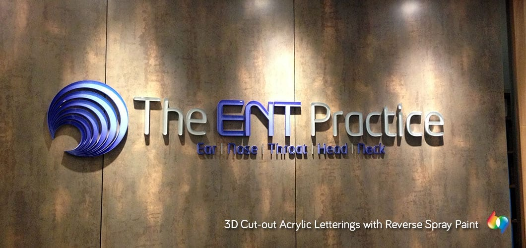 3D acrylic signage with spray paint