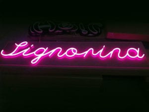 customised pink neon signage